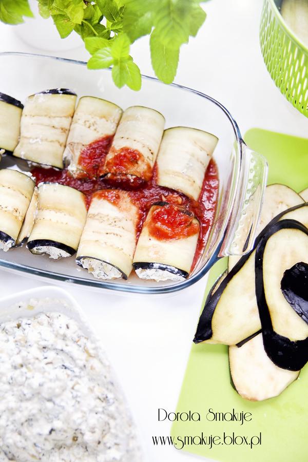 Bakłażan faszerowany serem w formie roladek