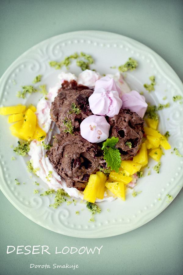 Deser lodowy – brownie, bezy, mascarpone, mango i cukier aromatyzowany melisą