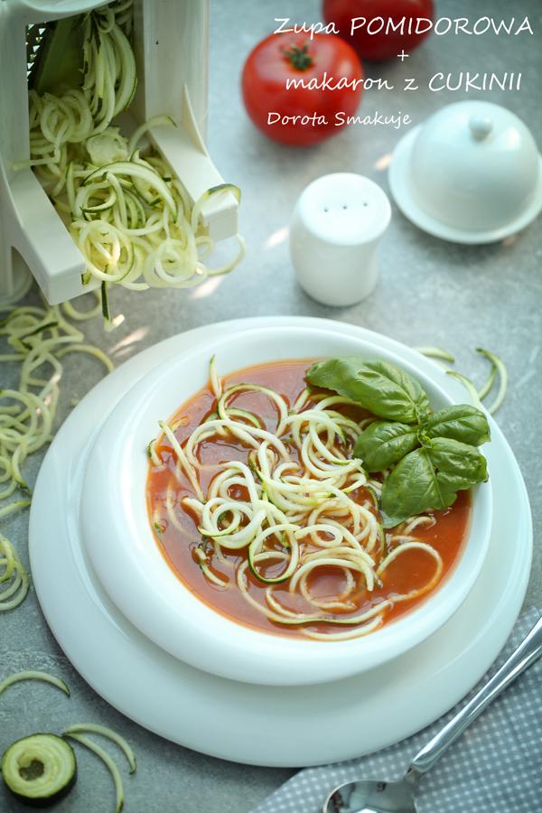 Kremowa zupa pomidorowa z makaronem cukiniowym