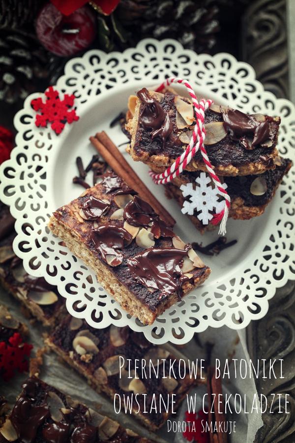 Piernikowe  batoniki owsiane  w czekoladzie