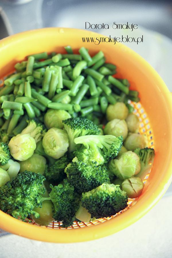 brokuły, brukselka, fasolka szparagowa