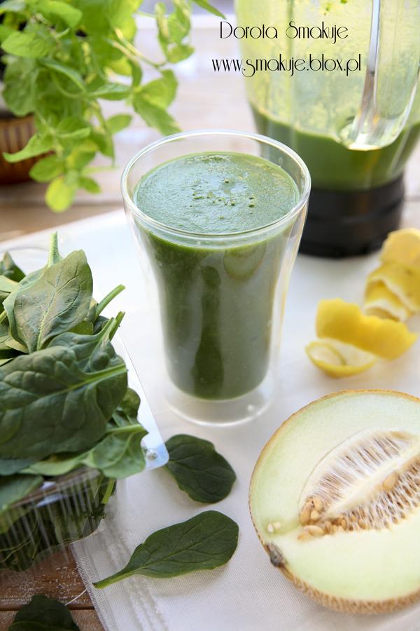 Zielony koktajl melon, szpinak, cytryna, stewia