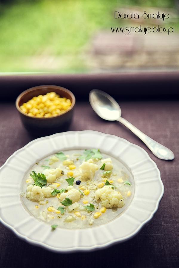 Zupa kalafiorowa z kukurydza i kasza jaglaną