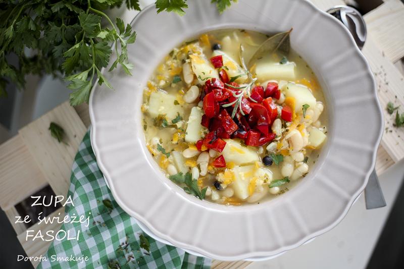 Zupa ze świeżej fasoli z rozmarynem i duszoną papryką