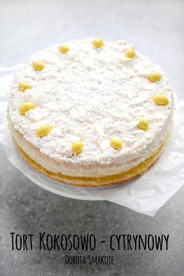 Tort kokosowo cytrynowy bez nabiału