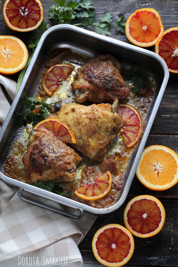 Kurczak pieczony w syropie ryżowym i pomarańczach