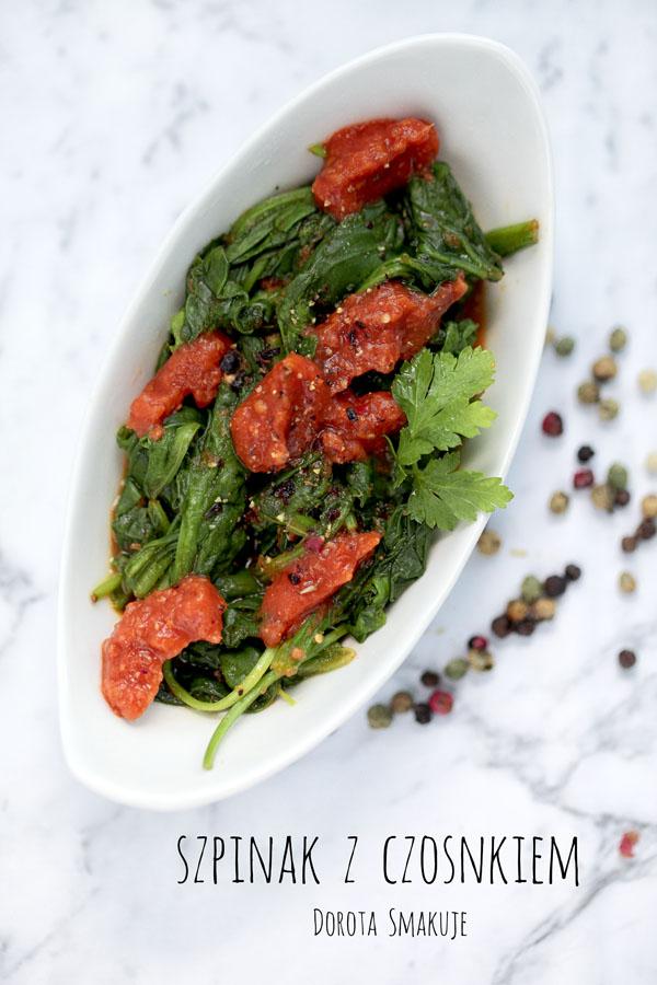Szpinak z czosnkiem i pomidorami - post Daniela