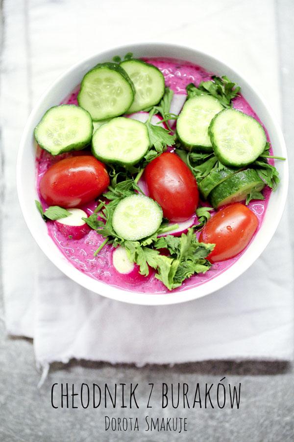 Chłodnik z buraków z rzodkiewką, ogórkiem i pomidorem