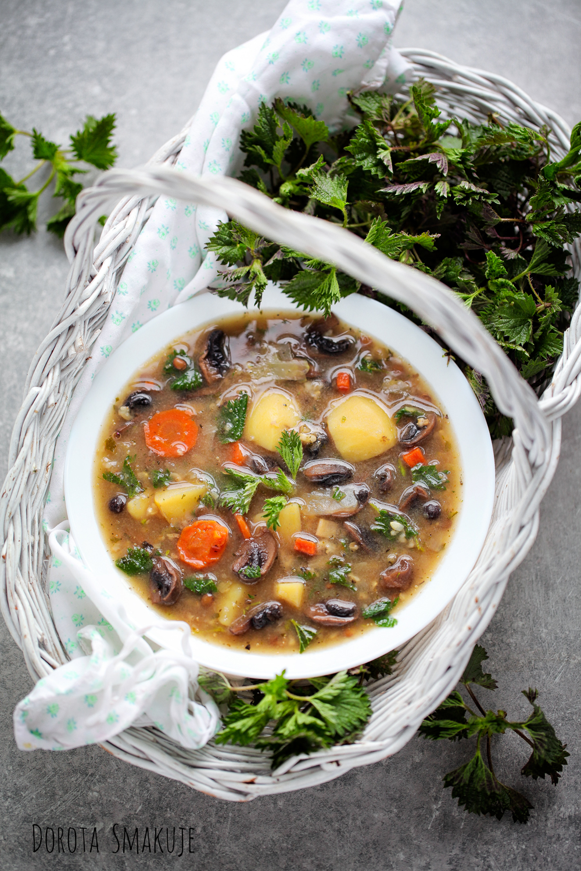 zupa pieczarkowa z pokrzywa i amarantusem