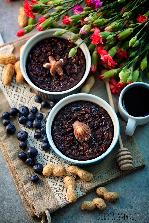 Pieczona owsianka czekoladowo - orzechowa